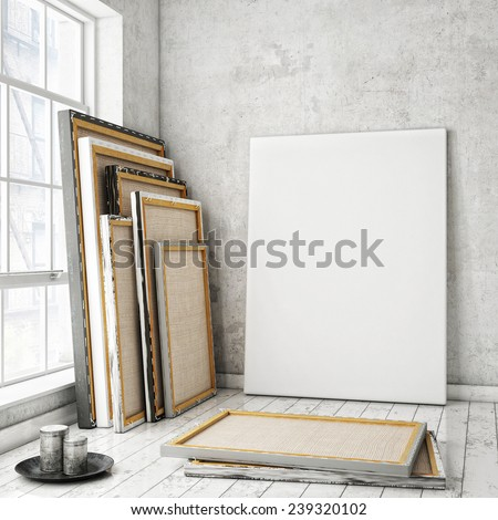 mock up poster frames and canvas in white scandinavian vintage hipster loft, interior background, 3D render - stock photo