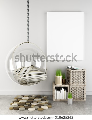 Mock up poster in hipster interior background, Photo realistic 3D render scene. - stock photo