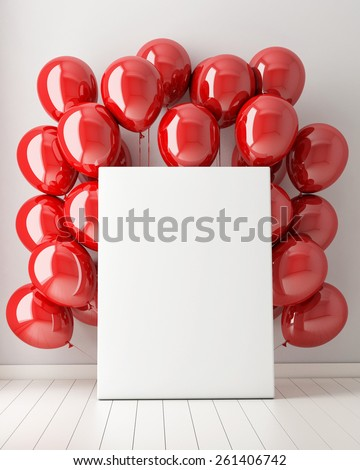 mock up poster in interior background with red balloons, 3d illustration - stock photo