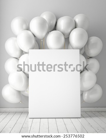 mock up poster in interior background with white balloons, 3D render - stock photo