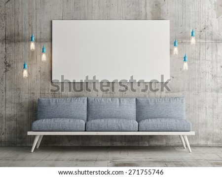 Mock up poster on concrete wall, 3d illustration - stock photo