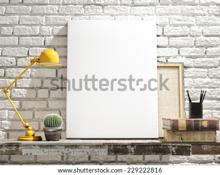 Mock Up Poster on table. White Brick Background - stock photo