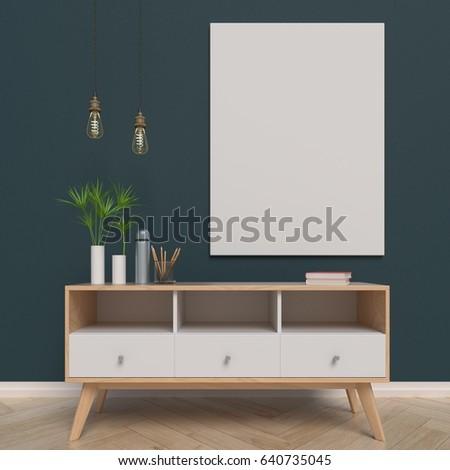 Mock Poster On Back Cabinet 3d Stock Illustration 640735045 ...