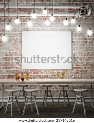 mock up poster on the wall of retro hipster cafe restaurant, interior background, 3D render - stock photo