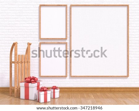 Mock up poster with wooden sledge and Christmas presents. 3D render illustration - stock photo