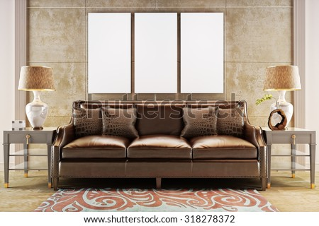 Mock up posters with leather sofa couch. Photo realistic 3d illustration - stock photo