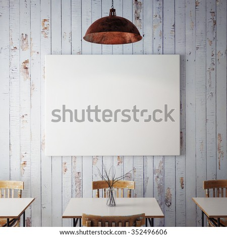 mock up posters with retro hipster cafe restaurant interior background, 3D render - stock photo
