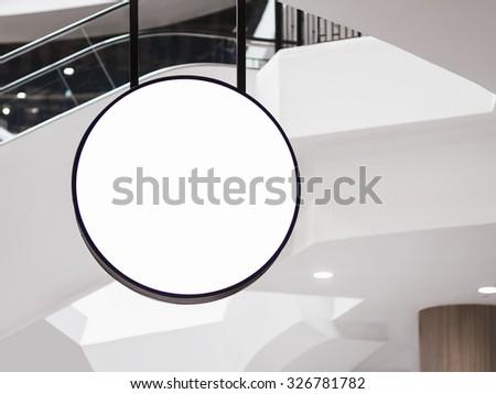 Mock up Signage circle shape Restaurant business  - stock photo