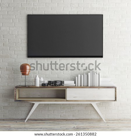 mock up tv on white brick wall, 3d illustration - stock photo