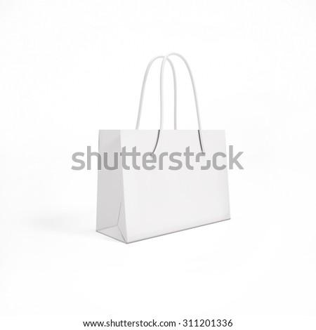 mock up white paper bag - stock photo