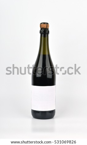 mock up wine bottle isolated on white background with copy space, front view.