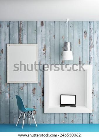 Mock up work cell, 3d illustration - stock photo
