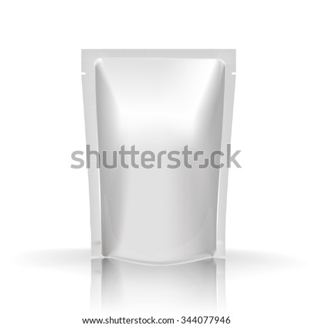 Mockup Blank Foil Food Or Drink - coffee, cocoa, sweets. White Realistic Plastic Pouch Ready For Your Design And Branding. Net package. White packaging. Template package. Sample packaging for food - stock photo