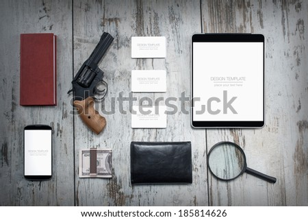 Mockup business template. Detective agency - stock photo