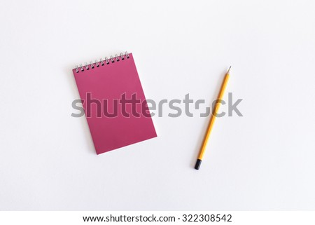 Mockup. Drawing pad and pencil on a white background. - stock photo