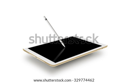 Mockup gold tablet realistic style with stylus. Isolated on white background. Nice tab mock up for web design presentation. Pda blank touch screen, graphic pencil on monitor. Digitizer input device. - stock photo