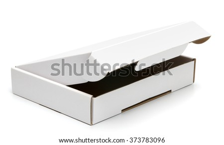 Mockup of almost closed pizza box isolated on white with clipping path with original shadow. Blank white carton box. - stock photo
