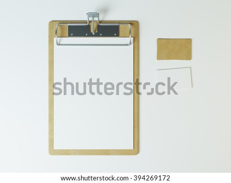 Mockup of empty paper in old, generic vintage clipboard. with craft cards. stationery 3d render - stock photo