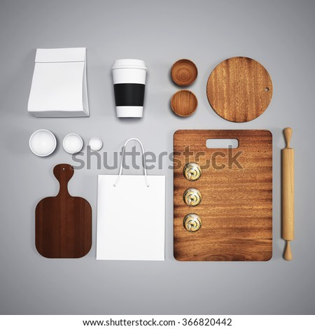 mockup of food and kitchen. 3d