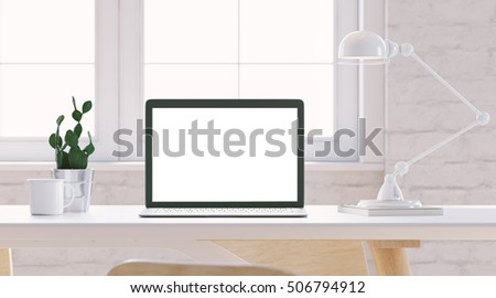 Mockup of laptop with empty screen on light table in bright interior. Plant on background. Vintage cup and lamp. Wide angle. 3d render