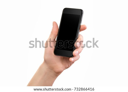 Mockup of male hand holding black cellphone isolated at white background.