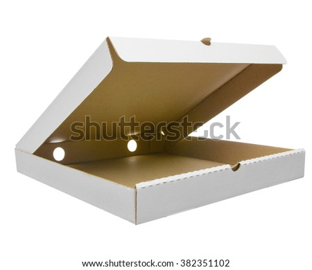 Mockup of pizza box. Open pizza box, wide angle photo isolated on white background with clipping path. - stock photo