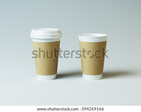 Mockup of two white and craft cups. Coffee and tea - stock photo