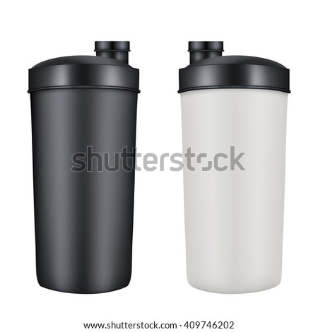 Mockup Plastic Sport Nutrition Drink Bottle. Whey Protein and Gainer. Illustration isolated on white background. Raster copy.  - stock photo