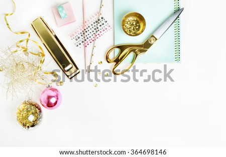 Mockup product view table gold accessories. stationery supplies. glamour style. Gold stapler. polka gold. Header website or Hero website. Flat lay - stock photo