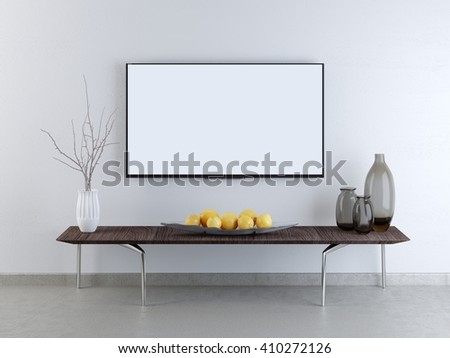 mockup TV screen on a white brick wall. A low table against a wall with a decor in Contemporary style. 3D render. - stock photo