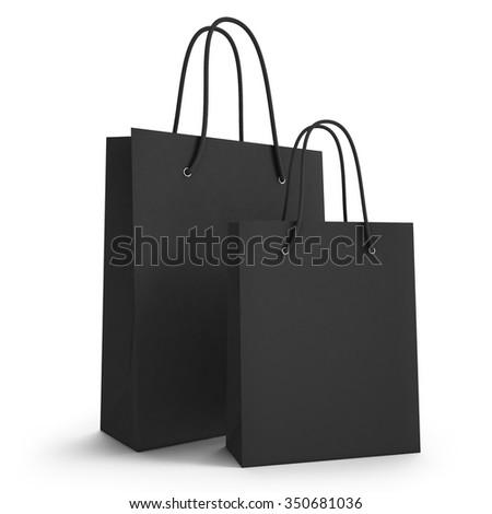 mockup two black paper shopping bag. 3d - stock photo