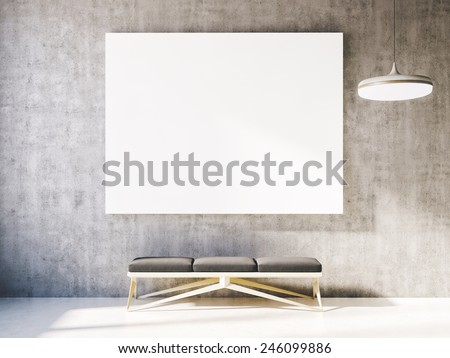 mockup with clear poster on the concrete wall - stock photo