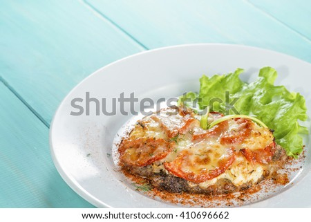 mocup, beef, baked with cheese with tomato serving salad - stock photo