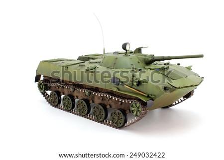 Model airborne combat vehicle on a white background - stock photo