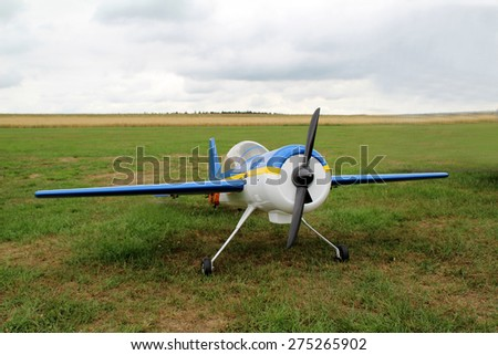 Model airplane / Radio controlled model airplane ready for take-off. - stock photo