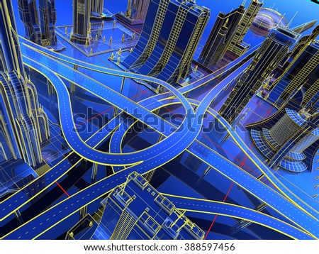 Model and city roads on a blue background. - stock photo