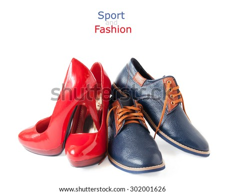 Model and sports shoes pair isolated on white background. Woman and man shoes concept - stock photo