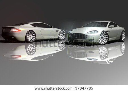 model car, greenish gray with chrome details, headlights lit and reflective floor.