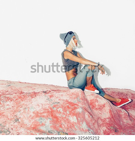 Model clothes dancing style. Fashion Location - stock photo