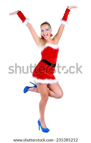 Model dressed as Santa - stock photo
