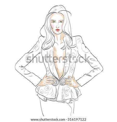 Model fashion. Sketch,  - stock photo