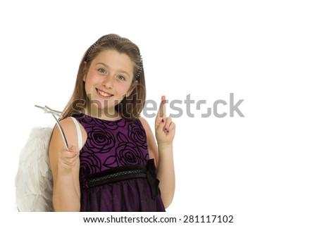 Model fingers crossed wishing lucky - stock photo