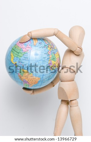 Model holds earth in air - stock photo