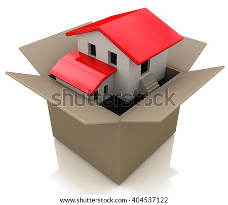 Model home in an opened cardboard box as an illustration of the healthy real estate market sales and packing to change neighborhood due to business work transfer.3D Illustration