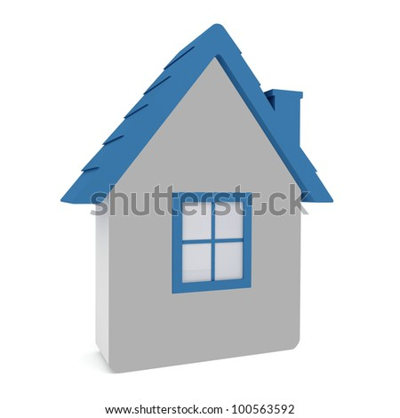 Model house with a blue roof on a white background