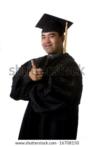 Model in graduation robes and regalia with a thumb up