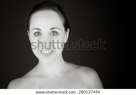 model isolated on plain background happy smiling arms crossed - stock photo
