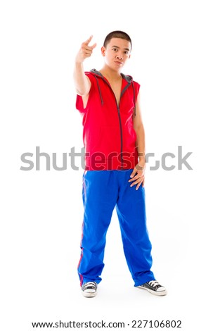 model isolated on plain background nagging scolding with finger - stock photo