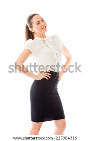 model isolated on plain background proud confident hands on hip