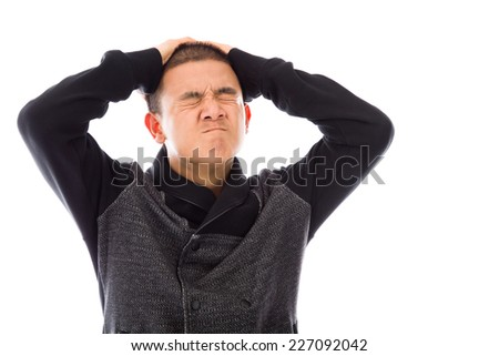 model isolated on plain background stressed upset pulling hairs
